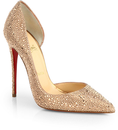 christian louboutin rose gold heels