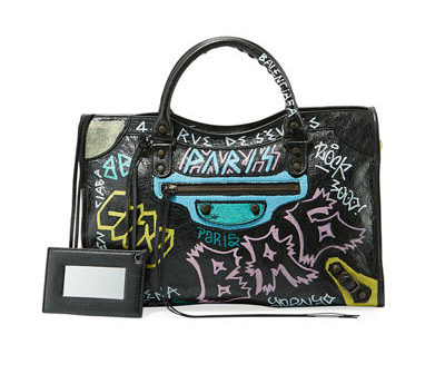 Balenciaga Logos movement featured by top high end fashion blog, A Few Goddy Gumdrops: image of a Balenciaga graffiti bag