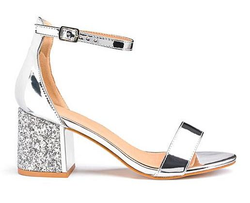 Anji Block Heels  | Trendy Silver Shoes featured by popular high end fashion blogger, A Few Goody Gumdrops