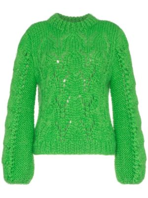 The Latest Ganni Winter Collection featured by top high end fashion blog, A Few Goody Gumdrops: green sweater