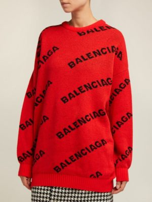 Balenciaga Logos movement featured by top high end fashion blog, A Few Goddy Gumdrops: image of a Balenciaga Intarsa sweater
