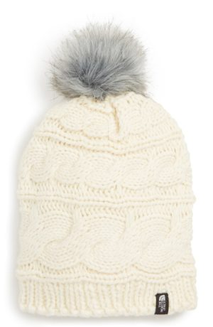 Stay Warm and Fashionable in Chunky Knits featured by top US high end fashion blog, A Few Goody Gumdrops: image of North Face beanie hat