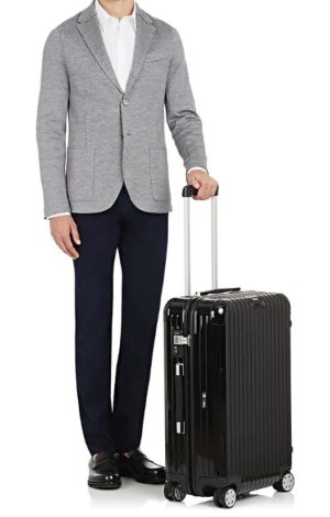 Chic luggage featured by top high end life and style blog, A Few Goody Gumdrops: image of a black Rimowa trolley luggage