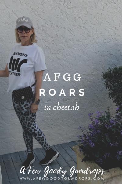Animal prints fashion featured by top high end fashion blog, A Few Goody Gumdrops: image of a woman wearing AFGG Roars leggings in Cheetah