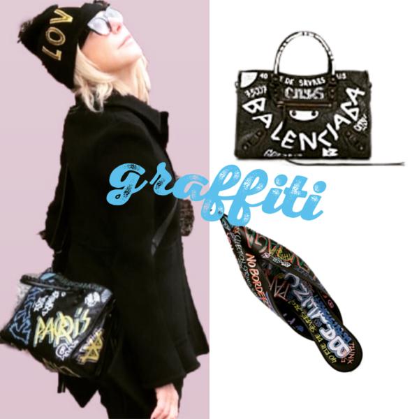Blaenciaga graffiti collection featured by top high end fashion blog, A Few Good Gumdrops: image of Balenciaga knife pumps and bag