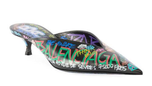 Balenciaga graffiti collection featured by top high end fashion blog, A Few Good Gumdrops: image of Balenciaga knife pumps