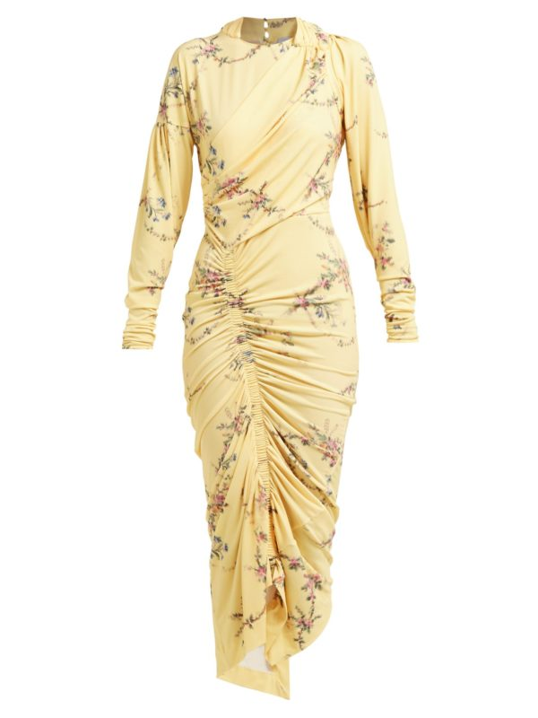 Yellow floral Spring trend featured by top high end fashion blog, A Few Goody Gumdrops: image of Preen by Thornton Bregazzie romantic floral yellow dress