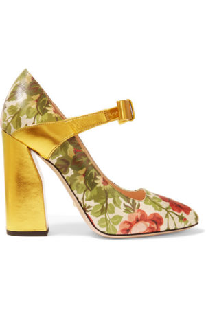 Yellow floral Spring trend featured by top high end fashion blog, A Few Goody Gumdrops: image of Gucci for Net a Porter floral yellow pumps.
