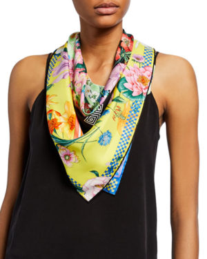 Yellow floral Spring trend featured by top high end fashion blog, A Few Goody Gumdrops: image of a Versace yellow floral scarf