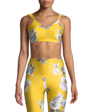 Yellow floral Spring trend featured by top high end fashion blog, A Few Goody Gumdrops: image of Onzie La Femme two piece floral yellow workout set.