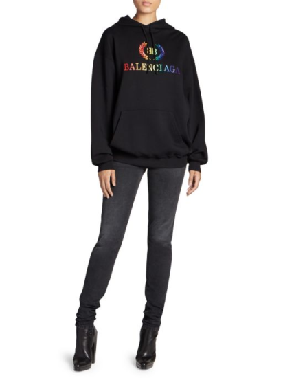 High end fashion blogger, A Few Goody Gumdrops shares her obsession for designer logo sweatshirts: image of a Balenciaga rainbow sweatshirt