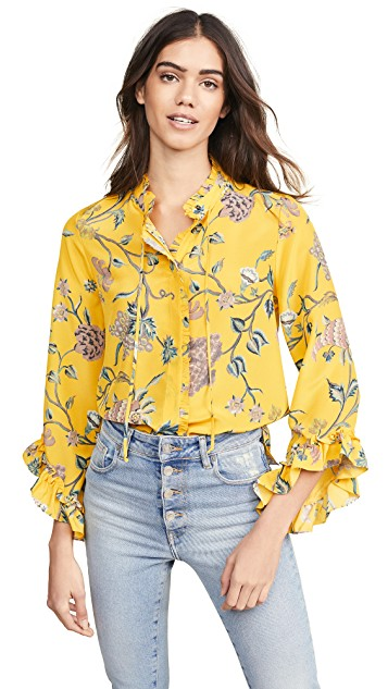 Yellow floral Spring trend featured by top high end fashion blog, A Few Goody Gumdrops: image of a woman wearing a Kobi Halperin yellow floral dress