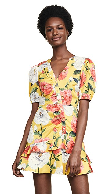 Yellow floral Spring trend featured by top high end fashion blog, A Few Goody Gumdrops: image of a woman wearing a Parker yellow floral dress