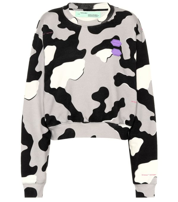 High end fashion blogger, A Few Goody Gumdrops shares her obsession for designer logo sweatshirts: image of an Off White camouflage sweatshirt