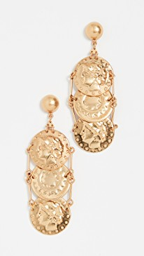 Top US High end fashion blog, A Few Goody Gumdrops shares the latest gold coin necklaces: image of hanging gold coin earrings