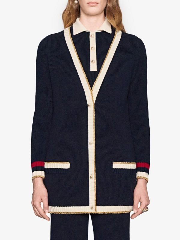 Cute long fall cardigans featured by top US luxury fashion blog, A Few Goody Gumdrops: image of Gucci long cardigan