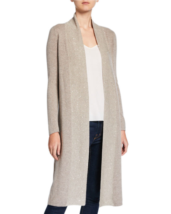 Cute long fall cardigans featured by top US luxury fashion blog, A Few Goody Gumdrops: image of Neiman Marcus duster