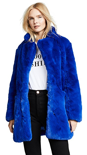 Blue fashion trend favorites featured by top US high end fashion blog, A Few Goody Gumdrops: image of an Apparis blue faux fur jacket.