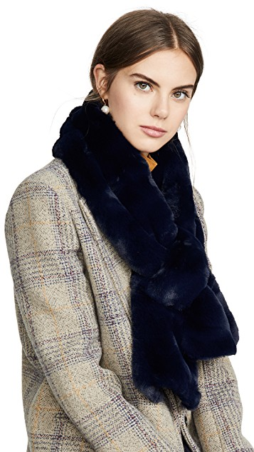 Blue fashion trend favorites featured by top US high end fashion blog, A Few Goody Gumdrops: image of an Apparis blue faux fur scarf.