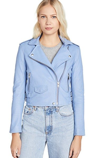 Blue fashion trend favorites featured by top US high end fashion blog, A Few Goody Gumdrops: image of an IRO light blue leather jacket.