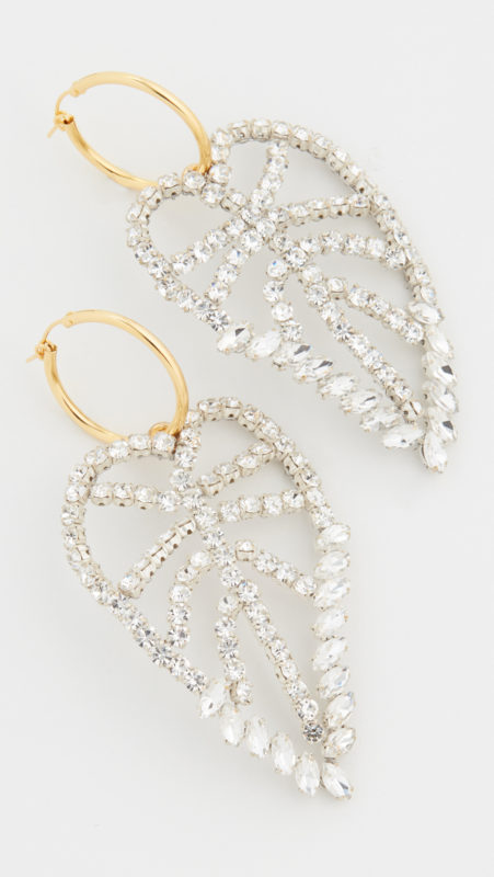 Lizzie Fortunato Crystal Leaf Earrings