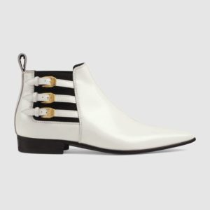 White boots trend featured by top US high end fashion blog, A Few Goody Gumdrops: image of Gucci leather white ankle boots