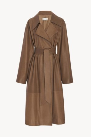 Camel coat trend favorites featured by top US high end fashion blog, A Few Goody Gumdrops: image of The Row Efo leather camel coat