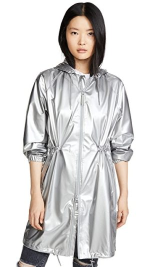 Light raincoats featured by top US high end fashion blog, A Few Goody Gumdrops: image of Rains silver coat